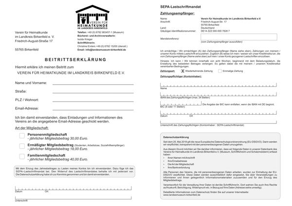 Beispielbild der Beitrittserklärung
