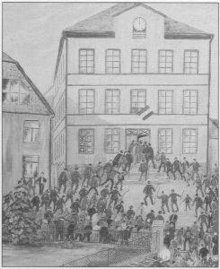 Die Zeichnung zeigt:  Die Bevölkerung beim Sturm auf das von Separatisten besetzte Idarer Rathaus
